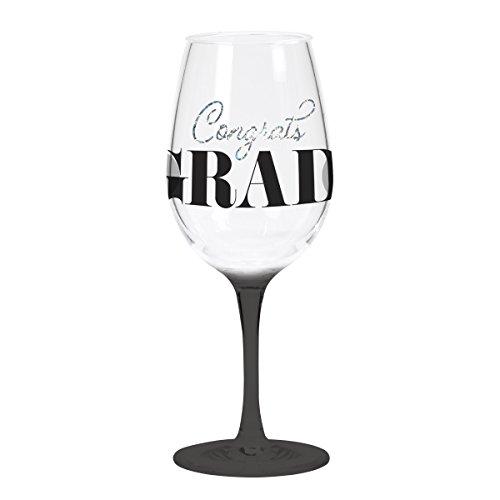 C.R. Gibson QWGO-20905 Congrats Grad'' Graduation Acrylic Wine Glass, 12 oz, -