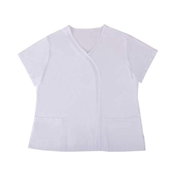 MISEMIYA Casaca Señora Mangas Cortas Uniforme Laboral Clinica Hospital Limpieza Veterinaria Sanidad Hostelería Camisa de utilidades de Trabajo para Mujer 3
