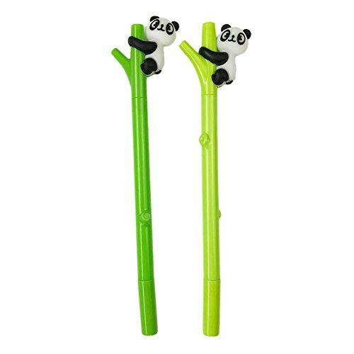 (Slendima 0.5 mm Black Ink Green Bamboo Shape Mix Cute Panda Ball Point Pen,Student Cartoon Stationery Gift - Random Color)
