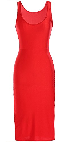 Tp Sky Women's Summer Casual Beach Tank Dress Below the Knee (S, Red)