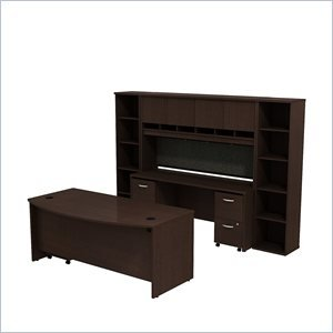 BBF Series C Bowfront Desk with Credenza Hutch and 2 half width Bookcases in Mocha Cherry