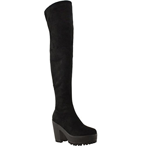 Fashion Thirsty Womens Sexy Over The Knee Thigh High Chunky Platform Heel Stretch Boots Size 7 (Patent Platform Thigh High)