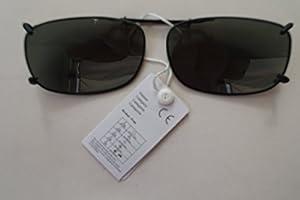 GKA Aufsatz Sonnenbrille für Brillenträger Sehstärke Clip Brillenaufsatz Sonnenbrillenaufsatz Sonnenbrillenclip Clip On Zwicker Gestell anthrazit Glas