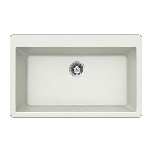 Acrylic Single Bowl Kitchen Sink - Houzer V-100 CLOUD Quartztone Series Granite Top Mount Single Bowl Kitchen Sink, White
