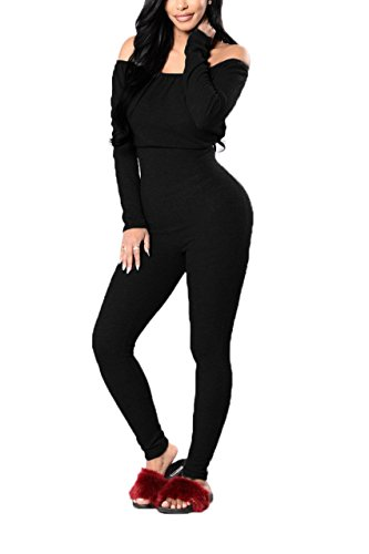 SoloSummer Women's Off The Shoulder Winter Long Sleeve Bodycon Night Out Jumpsuit One-Piece L Black (One Piece Jumper)