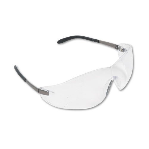 Crews Blackjack Wraparound Safety Glasses, Chrome Plastic Frame, Clear Lens - Includes 12 pairs of safety glasses.