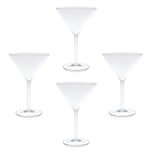 (QG 9 oz Clear Acrylic Plastic Martini Glass Set of 4, 88721-CL4P)