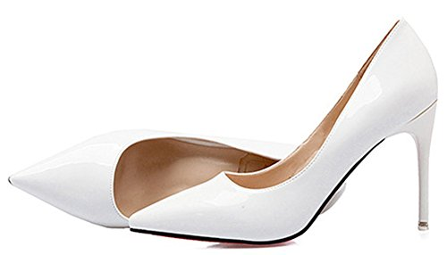 Idifu Donna Sexy Scarpe A Punta A Punta Tacco Alto Slip On Party Pumps Shoes White