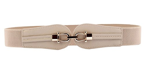 Beige Stretch Belt - Aecibzo Women's Fashion Wide Buckle Elastic Stretch Waist Belt Waistband (S/Fit waist 23.6