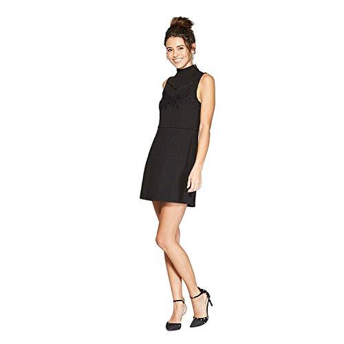 (Xhilaration Women's Sleeveless Lace Front Mock Neck Knit Dress Black M)