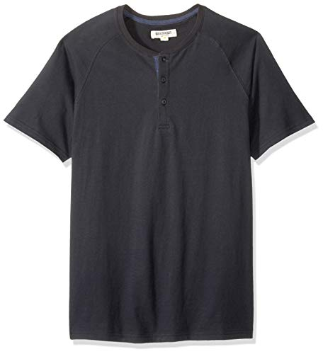 Goodthreads Men's Short-Sleeve Sueded Jersey Henley, Black, XX-Large Tall