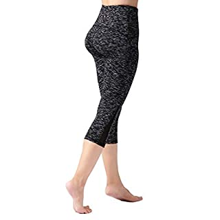 "ODODOS Women's High Waisted Tummy Control Mesh Workout Capris, 21"" Inseam Leggings with Back Pockets, Spacedye MattBlack, Small"