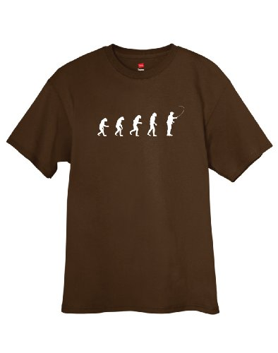 ShirtLoco Men's Evolution Of Man To Fly Fisherman T-Shirt, Dark Chocolate Extra Large