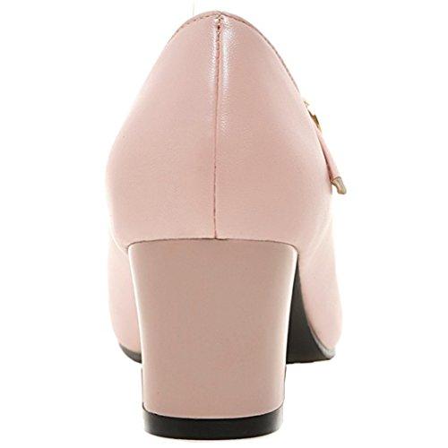AIYOUMEI Damen Spitz Knöchelriemchen Blockabsatz Pumps mit 5cm und Perlen Absatz Bequem Absatz Rosa