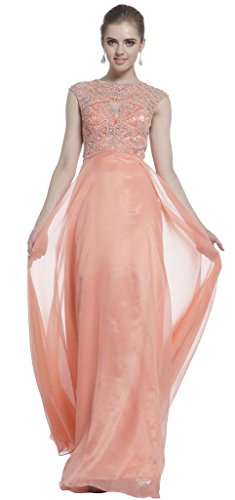 Meier Women's Cap Sleeve Illusion Rhinestone Pageant Formal Prom Dress Coral-8