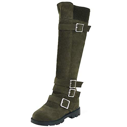 Artfaerie Womens Wool Knee High High High Boots High Top Buckle Knight Boots Block Low Heel Zip Horse Riding Long Shoes B07HF8WWYT Shoes ffa54f