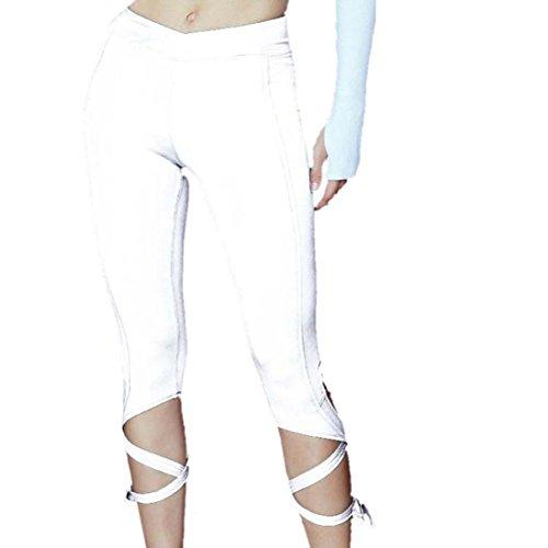 Robiear Women Sports Gym Yoga Workout Athletic Pants (M, White)