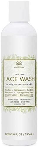 Tea Tree Oil Face Cleanser – Face & Body Wash for Dry, Oily, Acne Prone Skin & Rosacea 8oz Natural & Organic Facial Wash to Moisturize, Nourish, Soothe Redness & Inflammation 8oz Era-Organics