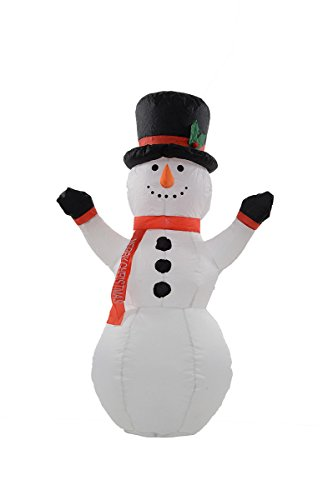 Awesome 4 Foot Self Inflating Illuminated Snowman Holiday Yard Decoration Blow Up (Snowman Lawn Decorations)