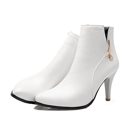 Pointed Boots Solid WeiPoot Heels Low Women's Soft Top White High Material Toe Closed ZxqBwxpn4
