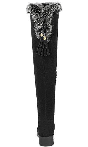 Hiver Bottes Faux Femme Chaudes Noir Genou De Fourrure Bigtree Suède Cuissardes E1x1qwraB