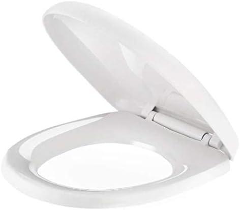 Djyyh 便座ユニバーサル便座は、U/V/O形状のトイレのために取り付けホワイト-40〜44cmの* 34〜35CMを簡単にきれいなトイレふたをスローダウンミュートトップを厚く