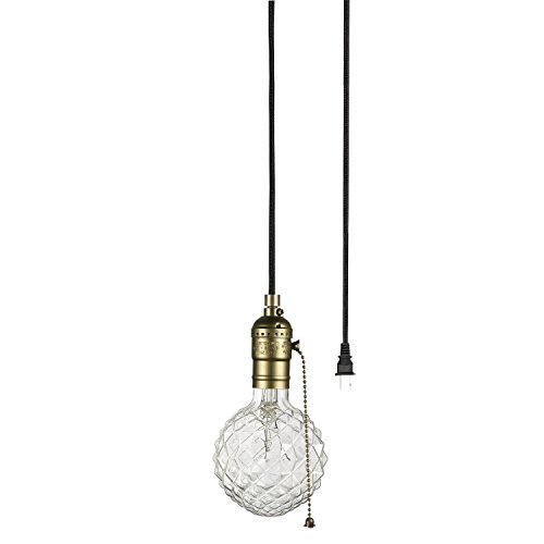 Globe Electric Edison 1-Light Plug-In Mini Pendant, Matte Bronze Finish, Designer Black Fabric Cord, Pull Chain On/Off Switch, Bulb Not Included, - Lamps In Plug Pendant