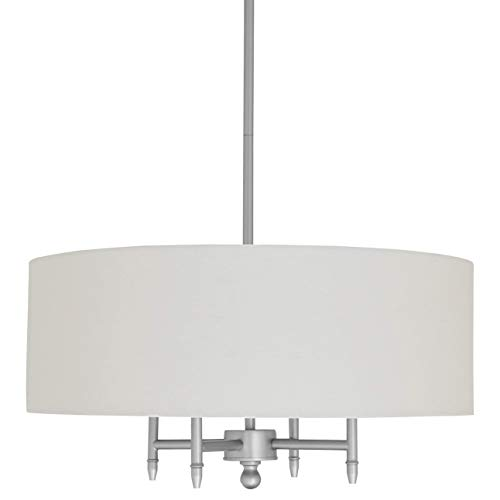 Rectangular Nickel Chandelier (Stone & Beam Classic Ceiling Pendant Chandelier Fixture With White Drum Shade- 20 x 20 x 42 Inches, Brushed Nickel)