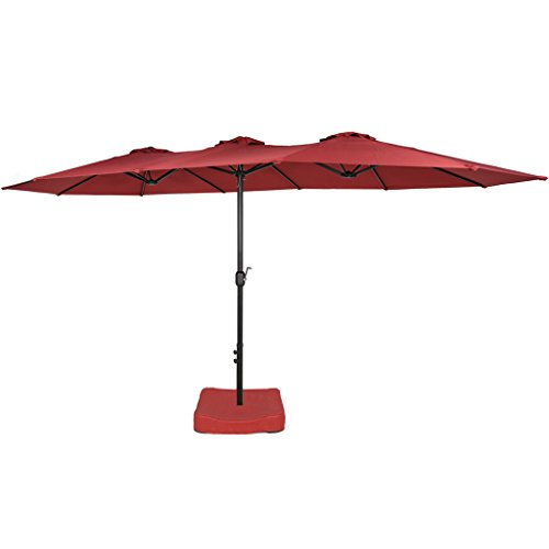 Iwicker 15 Ft Double-Sided Patio Umbrella Outdoor Market Umbrella with Crank, Umbrella Base Included (Red) by Iwicker