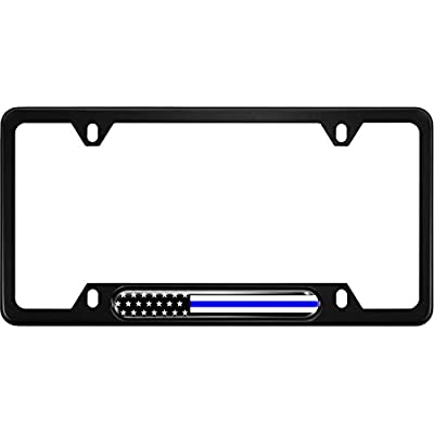 USA Patriotic Anodized Aluminum Thin Top | Narrow Top Car License Plate Frame with US American Flag |Thin Blue Line Insert with Free caps - Black: Automotive