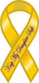 Safe Ribbon Magnet - Keep My Daughter Safe Yellow Ribbon Magnet