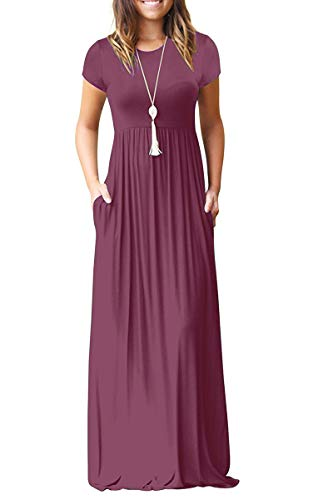 AUSELILY Women Short Sleeve Loose Plain Casual Long Maxi Dresses with Pockets (S, ()