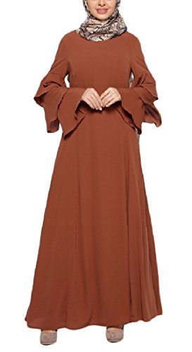 Coolred-femmes Baggy Manches Longues Solide Musulman Longue Robe Crayon Brun