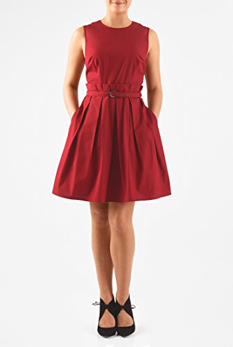 eShakti Women's Pleat waist belted poplin dress 3X-26W Short Crimson red