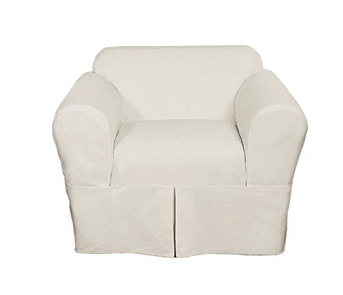 Classic Slipcovers WDEN2PC30WHT Chair slipcover, 2 Piece, Separate Cushion Cover, Pure - Covers Chair Classic
