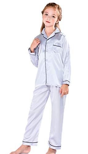 Horcute Pajamas Little Kid Sleepwears Set Pjs Clothes Long Sleeve Silver 170# 11-12Y ()