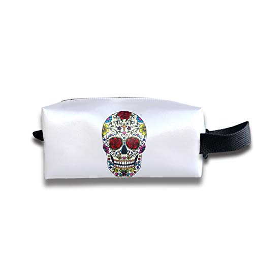 Durable Zipper Storage Bag Makeup Handbag Sugar Skull Art Toiletry Bag With Wrist Band -