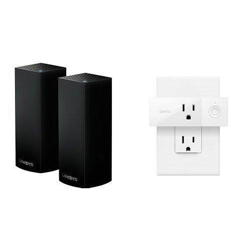 Linksys Velop Tri-band Whole Home WiFi Mesh Node, 2-Pack (Black) + Wemo Mini Smart Plug by Linksys