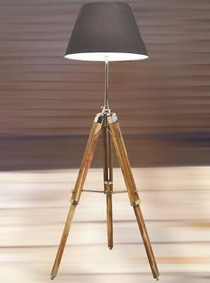 Vintage wooden lamp stand shade floor tripod adjustable for Tripod spotlight floor lamp in teak wood