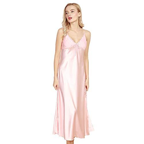 4Ping Women's Spring and Summer Imitation Silk Pajamas Long Paragraph Split Sexy Sling Sleep Dress Pink M