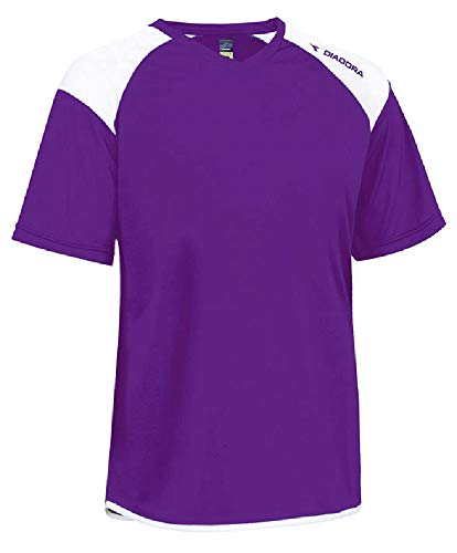 Diadora Grinta short-sleeve soccer goalkeeper jersey personalized with your name and number - color Purple - size Youth Large