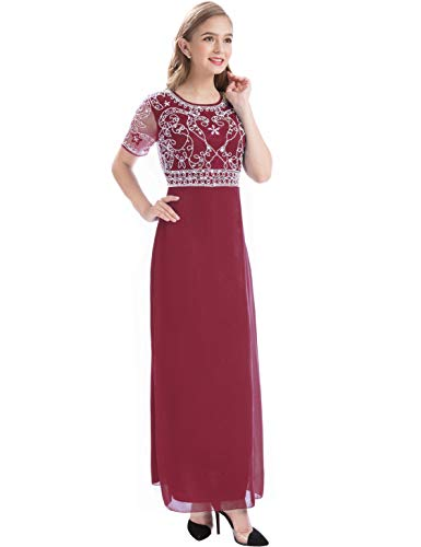 - MANER Women Chiffon Beaded Embroidered Sequin Long Gowns Prom Evening Bridesmaid Dress (XL, Burgundy)