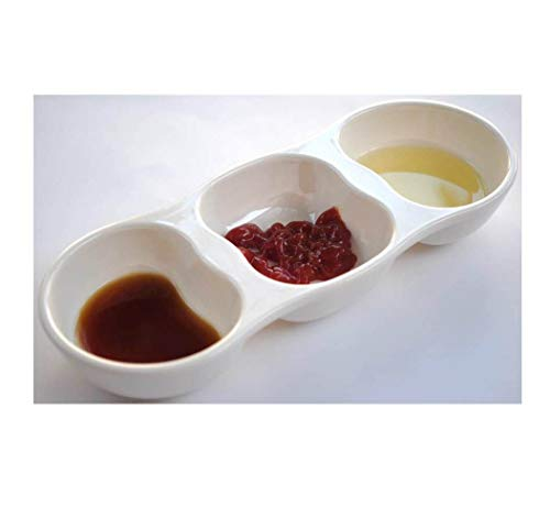 Divided Sauce Dish - Z-Moments Melamine 3-Compartment Divided Plastic Sauce Dishes, Ivory, 12-pcs per case (1 Dozen)