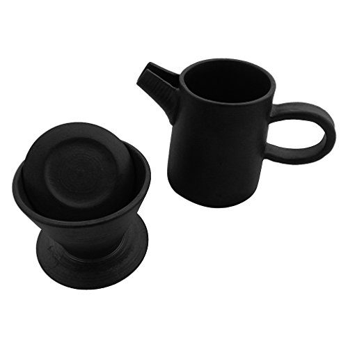 ZANTAN Handmade Ceramic Coffee Dripper and Pot Set, Far Infrared Radiation and Negative Ions, Reduce Bitter Taste, Pour Over Coffee Maker, 11.6 Ounce by ZANTAN (Image #1)