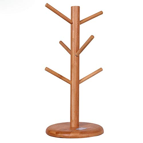 BeesClover Cups Storage Wooden Tree Shape Coffee Mug Drying Rack Holder Home Kitchen Drain Hanger Stand Organizer with 6 Hooks as Show