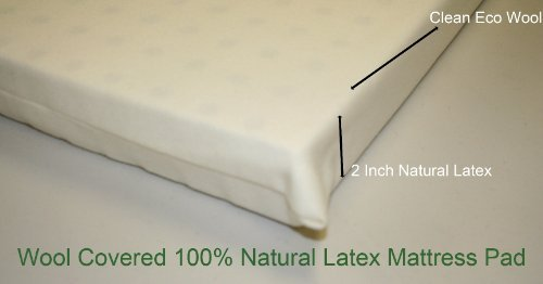 All Natural Latex, Wool coverd pads for Mini, Porta Crib, Co Sleeper and Playards 2 inches (Playard - Medium Firm 26x38)