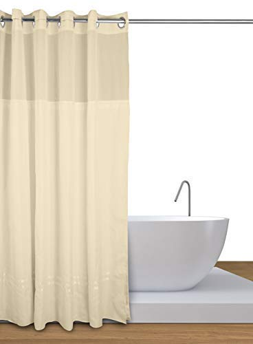 "Curtain Express Premium Hookless Shower Curtain with Curtain Liner & Magnet to Prevent Curtain Creep – Beige, 71"" x 74"" ()"