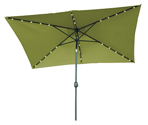 Trademark Innovations Rectangular Solar Powered LED Lighted Patio Umbrella, 10 x 6.5, Light Green