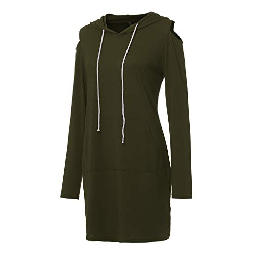 Mlide Women Off-The-Shoulder Mini Dress With Pocket,Long Sleeve Strapless Hooded A-Line Dress(Army Green,Medium) by Mlide (Image #2)