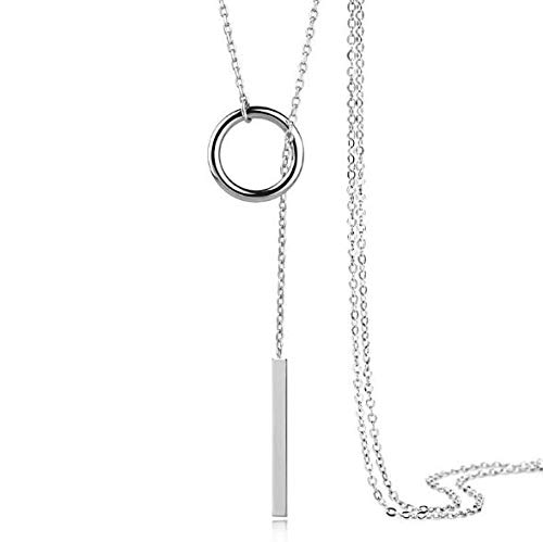 Sterling Silver Necklac for Women Chain Delicate Tiny Simple Layering Lariat Necklace Y Necklace Drop Open Circle Pendant Chain Necklaces Jewelry